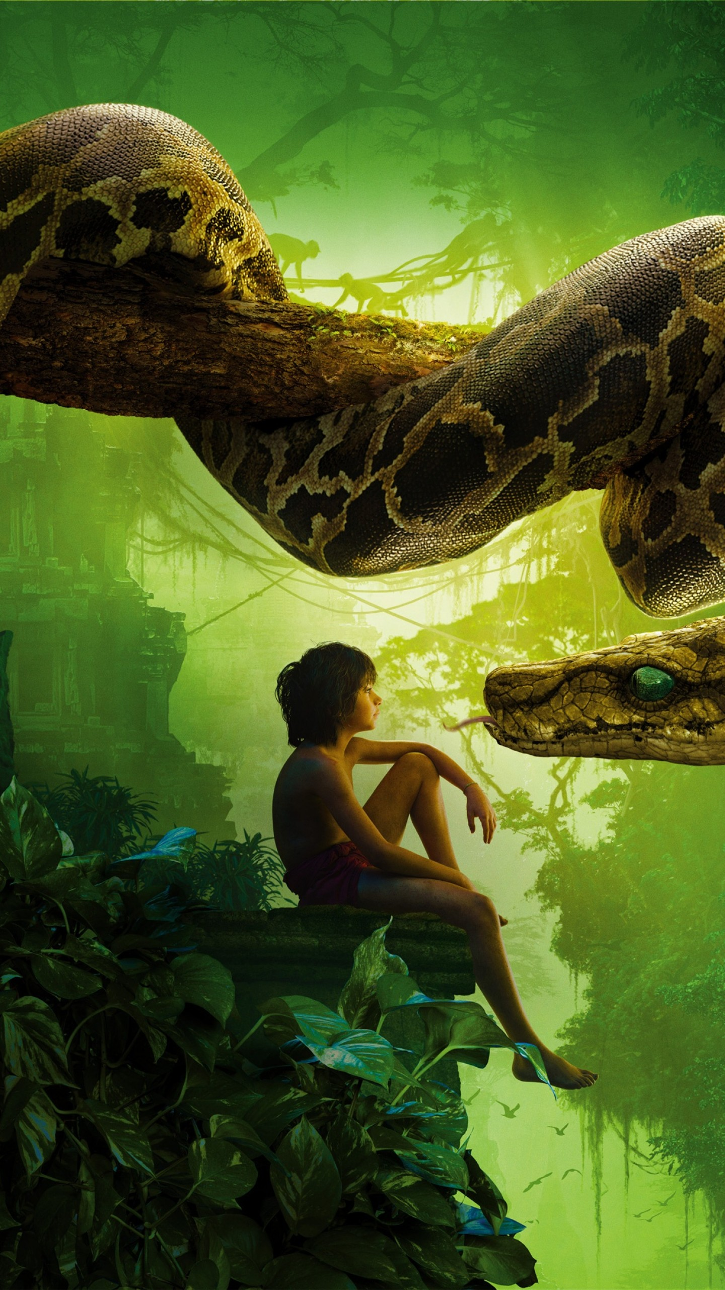 Wallpaper The Jungle Book, snake kaa, mowgli, Best movies