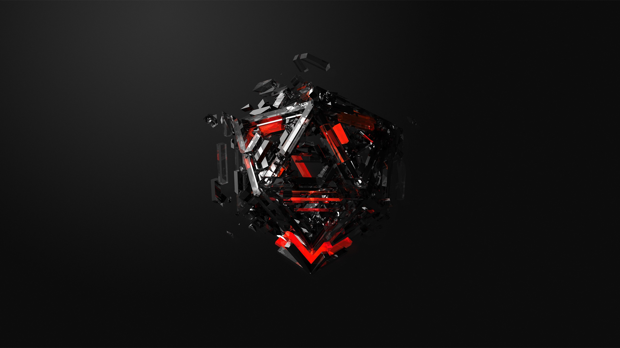 Wallpaper triangles, 3D, red, black, HD, Abstract #16371