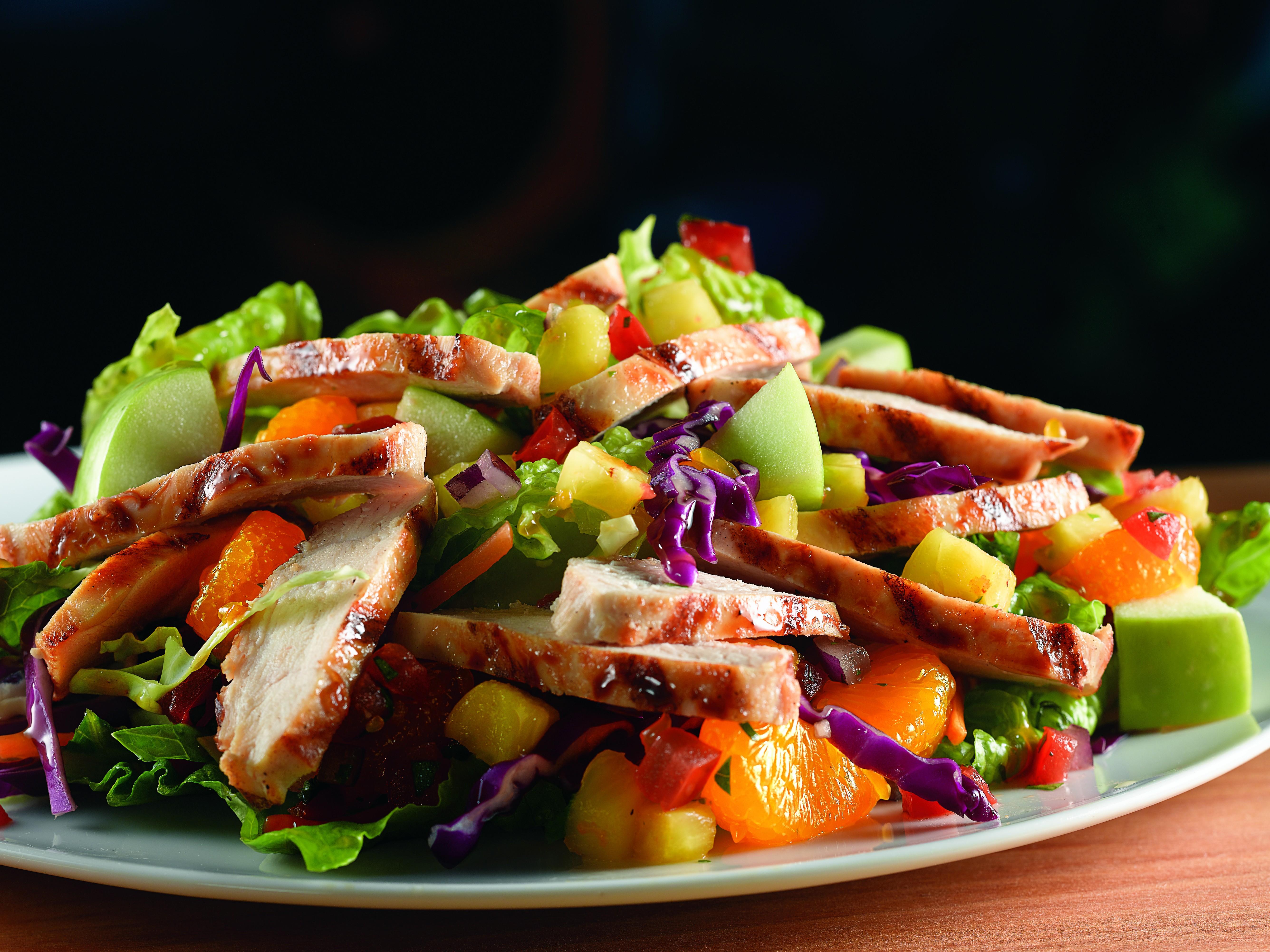 Wallpaper Tropical Chicken Salad, apple, orange, pineapple ...