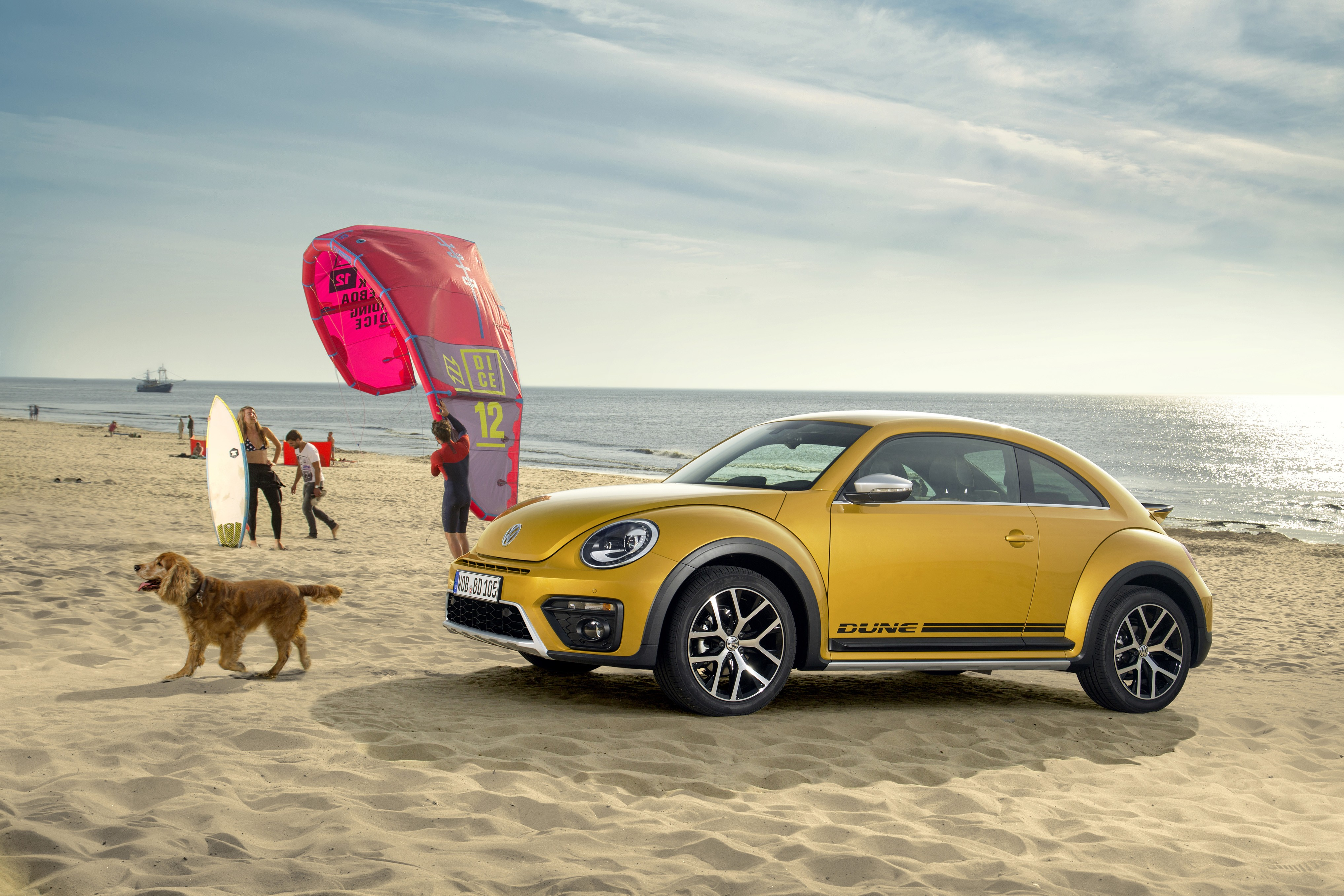 Wallpaper Volkswagen Beetle Dune Yellow Beach Sky Dog