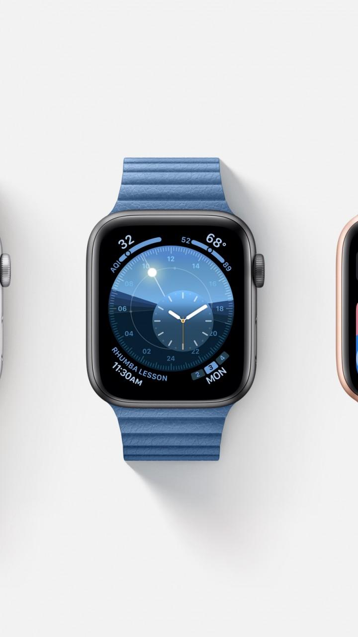 Wallpaper watchOS 6, interface, GUI, Apple Watch Series 4 ...