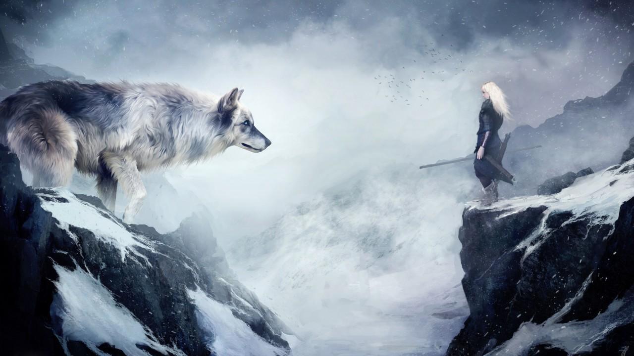 Wallpaper Wolf 4k Hd Wallpaper Mountain Girl Animals