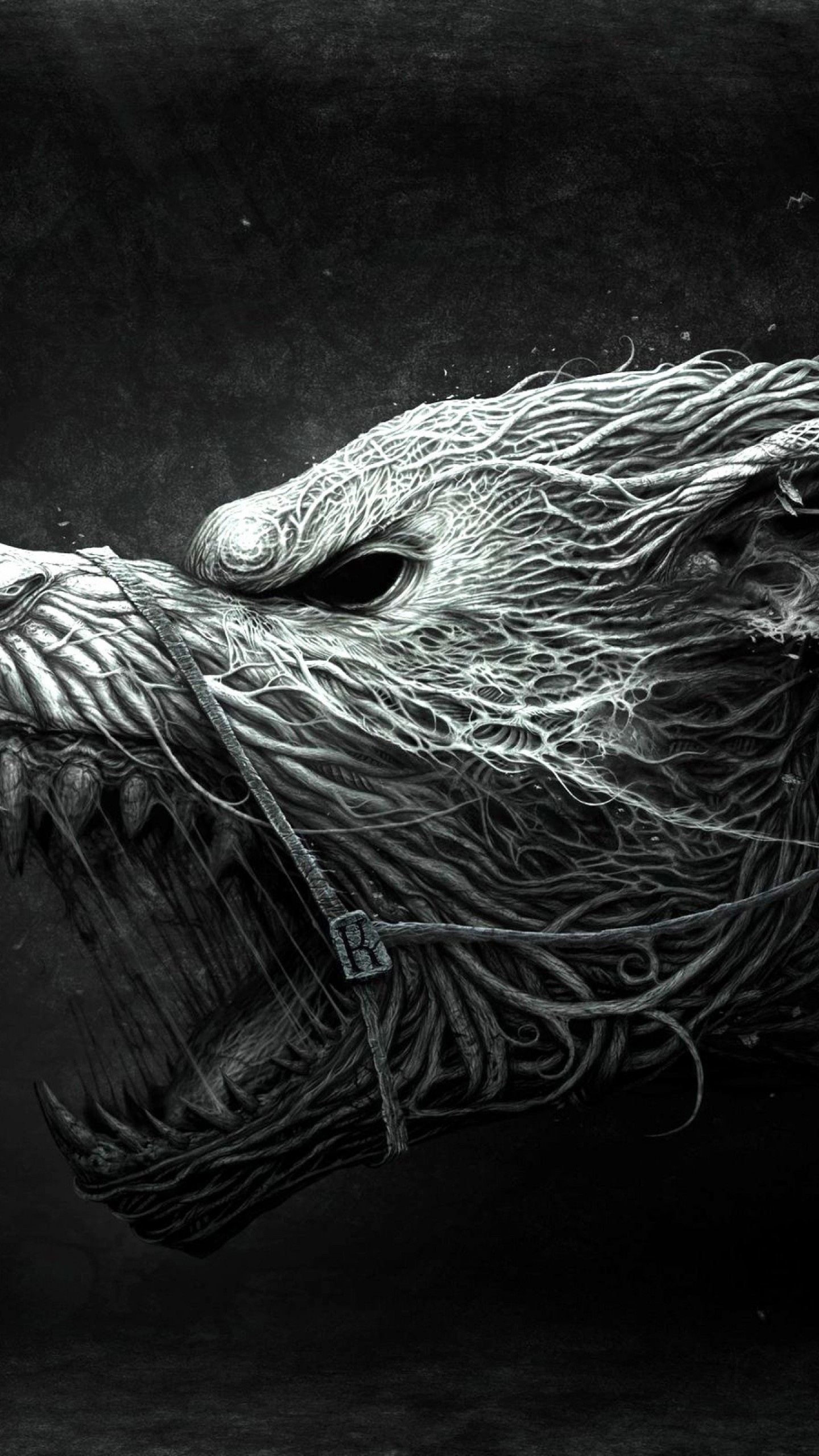 Wallpaper Wolf Hellhound Art Black And White Dangerous