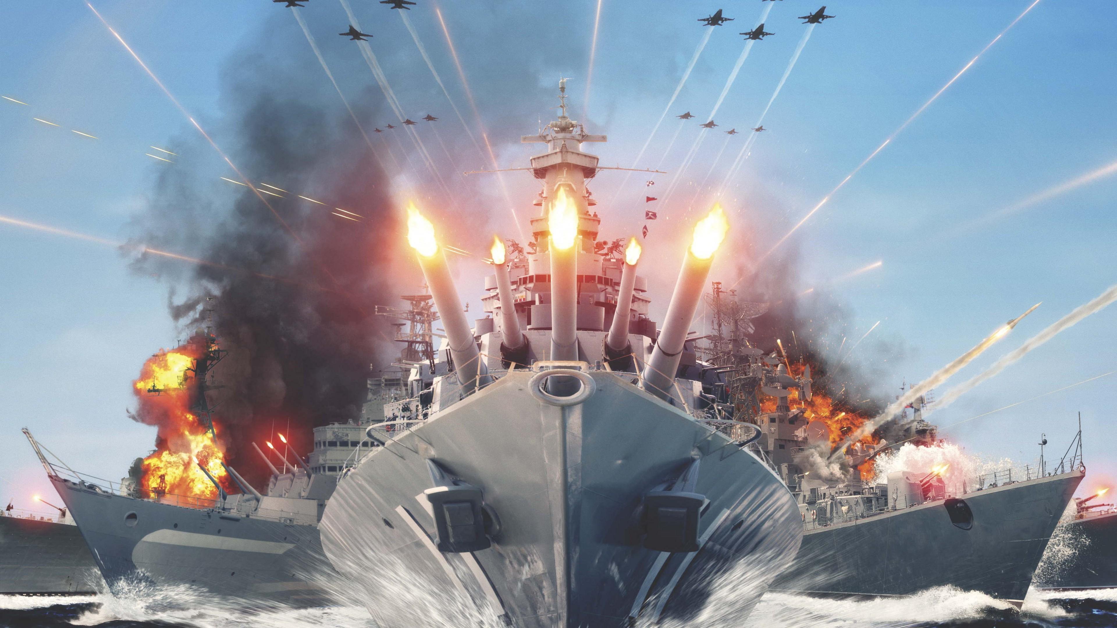 Wallpaper World Of Warships Game Mmorpg Simulator Sea Water