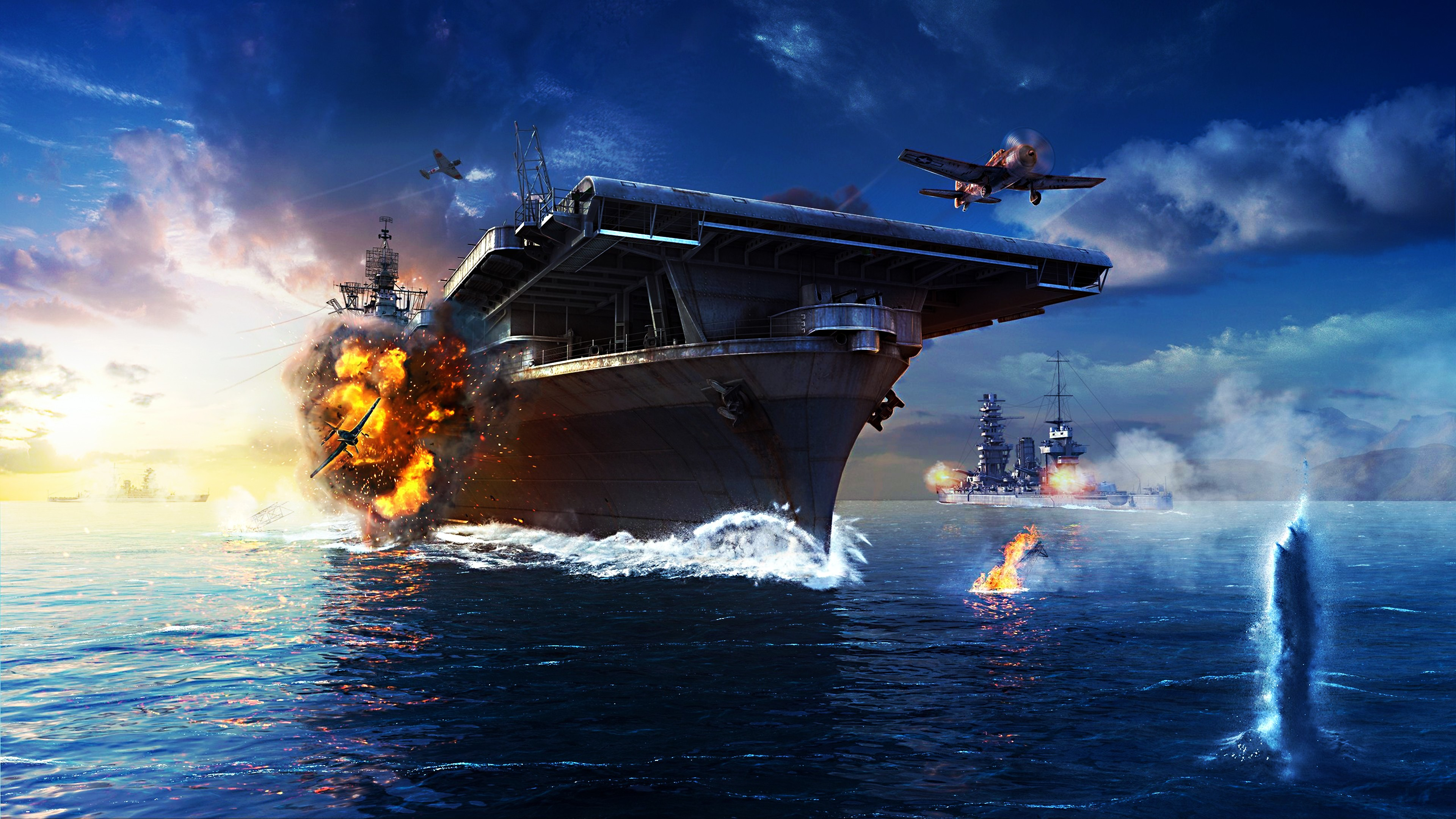 Wallpaper World Of Warships Game Mmorpg Simulator Sea Water Battle Fire Ship Storm Best Games Of 2016 Games 10324 Page 2