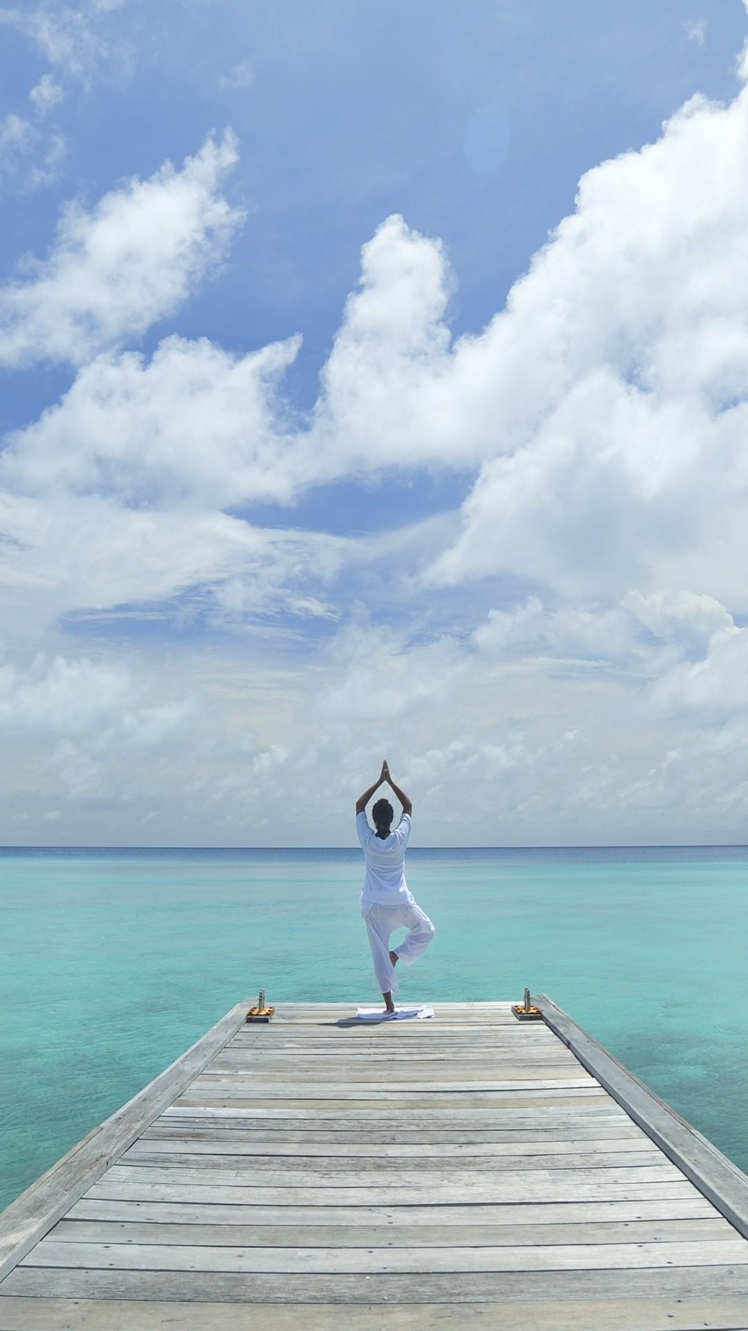 Wallpaper Yoga Beach Sea Blue Sky Sport 10413
