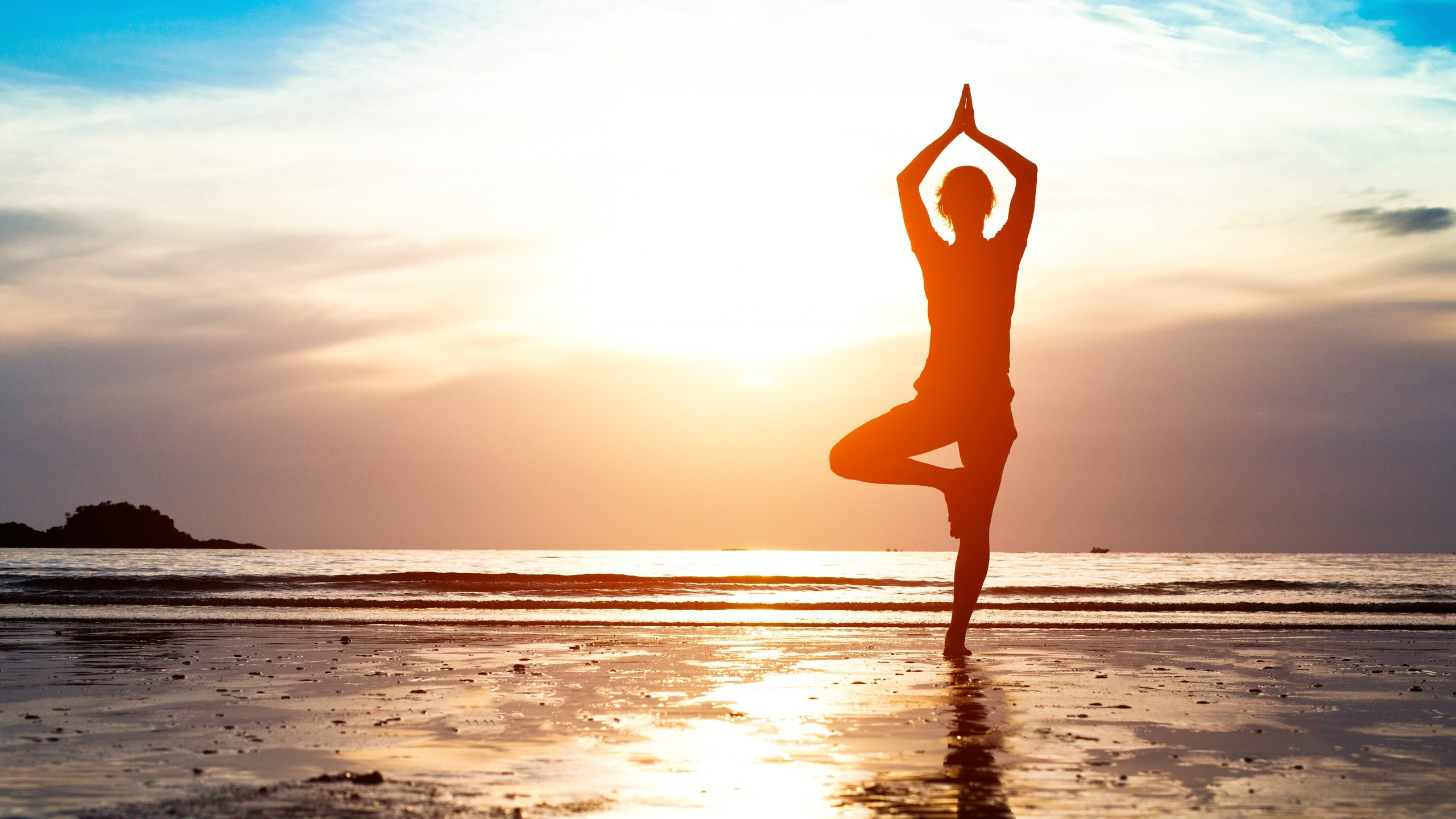 Wallpaper Yoga Girl Weight Loss Beach Sand Sun Relax