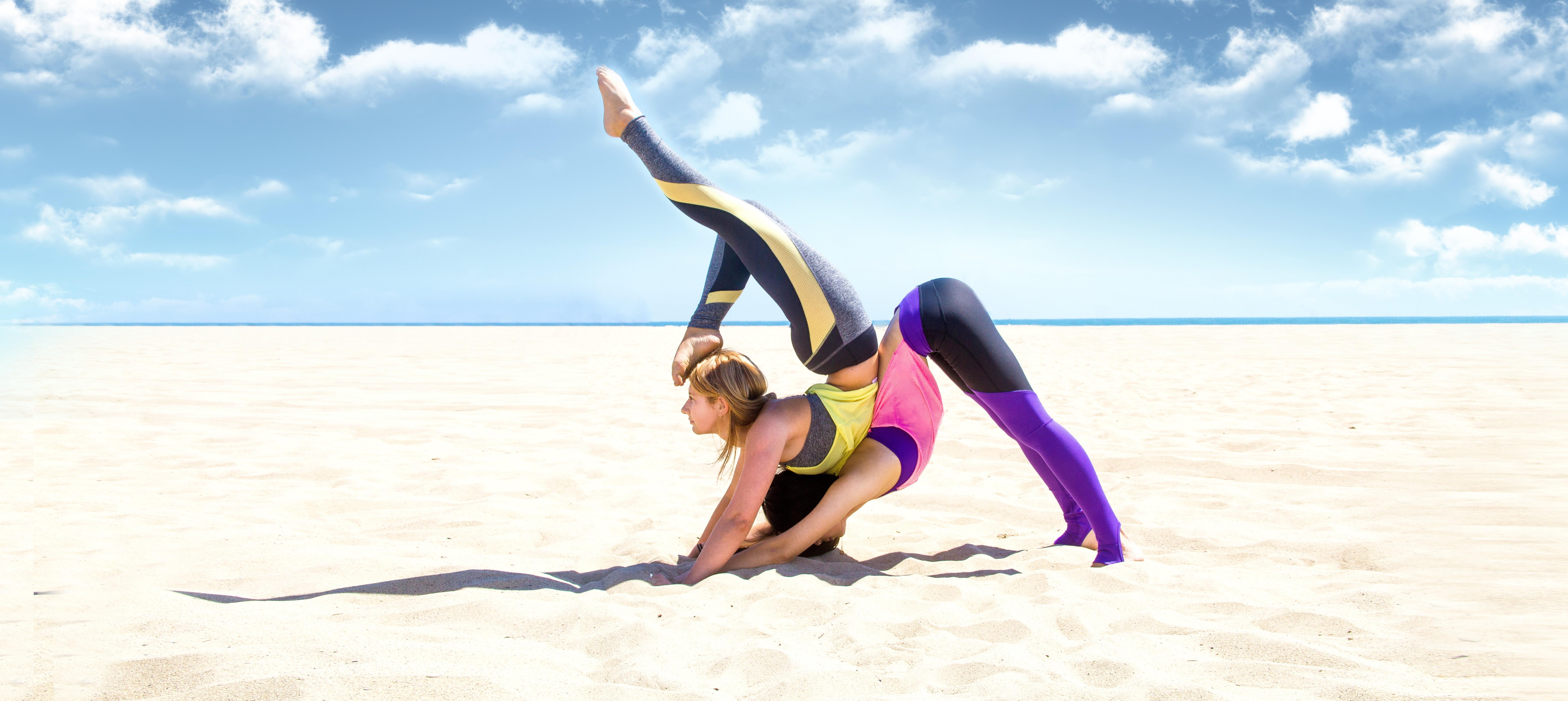Wallpaper yoga, girl, weight loss, beach, sand, sky, relax ...
